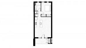 1 Level 800 Square Foot 1 Bedroom 1 Bath Floor Plan