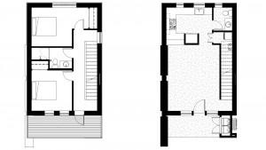 2 Level 1200 Square Foot, 2 Bedroom 1 Bath Floor Plans
