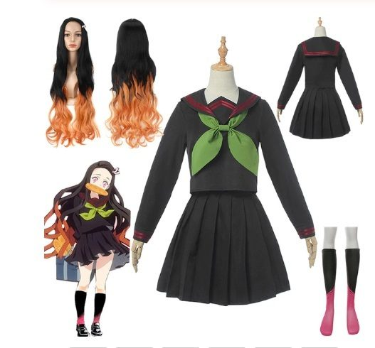 COSPLAY COLEGIAL KAMADO NEZUKO KIMETSU NO YAIBA DEMON SLAYER + PERUCA