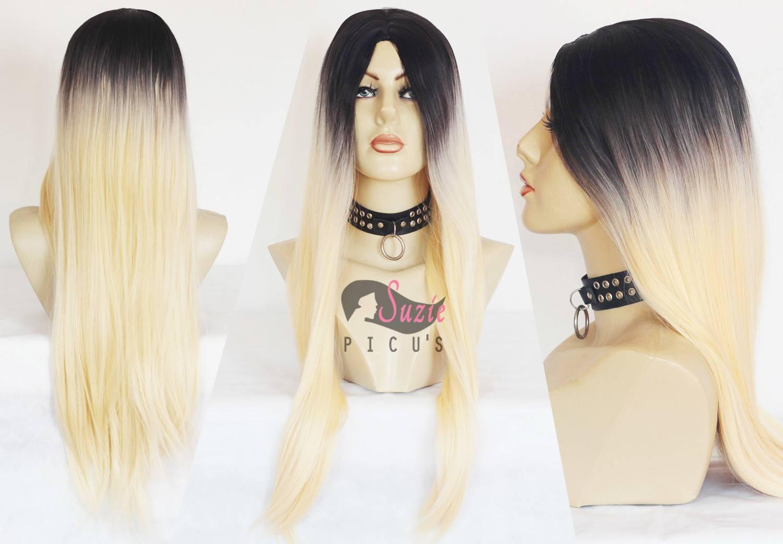 Peruca Wig Repartida ao meio Loira com Raiz Preta Ombre Hair 75cm - Fibra Futura