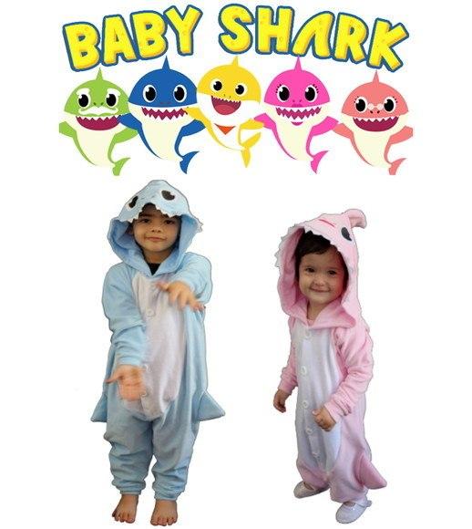 Pijama Baby Shark Tubarão Macacão Roupa Infantil Kigurumi