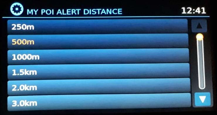 Points of Interest Alert Distance