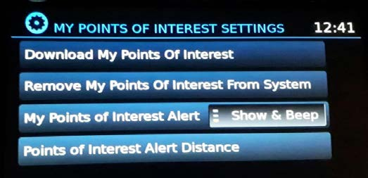 My Points Of Interest Settings