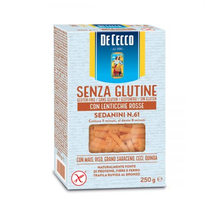 De Cecco Pasta Sedanini me Thjerreza te Kuqe Nr. 61 pa Gluten Paketim 250Gr x 12Cp