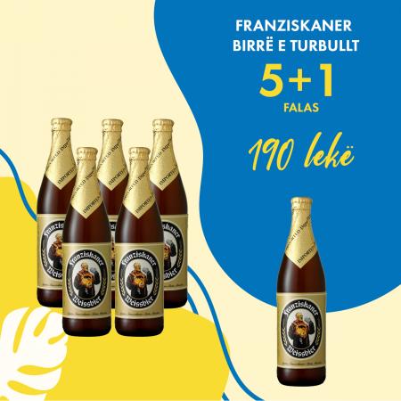 5  Franziskaner Birre e Turbullt Shishe 0.5L   + 1  falas