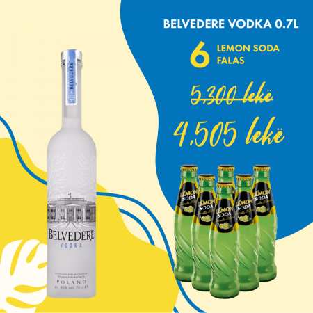 1  Belvedere Vodka 0.7L + 6 Lemon Soda Shishe falas