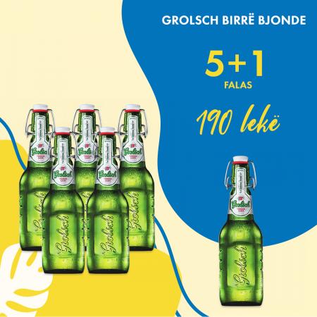 5  Grolsch Birre Bjonde Shishe 0.45L  + 1 falas