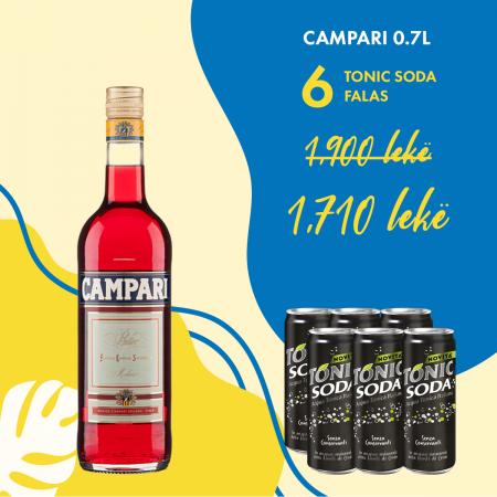 1 Campari 0.7L + 6  Tonic Soda Kanace 0.33L  falas