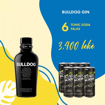 Bulldog Gin  0.7L + 6  Soda Kanace 0.33L