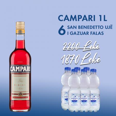 1Campari 1L + 6 SAN BENEDETTO UJE I GAZUAR (CARBONATED) PET 0.5L falas