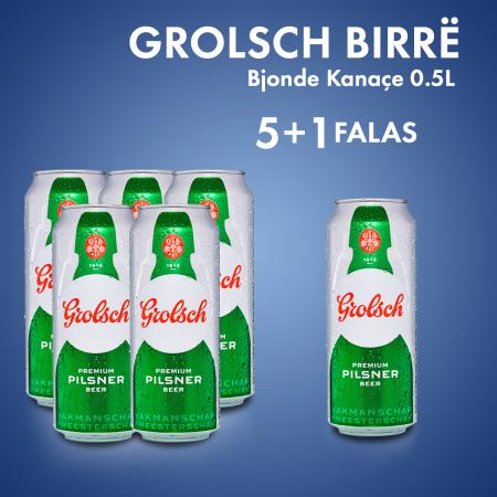 5 Grolsch Birre Bjonde Kanace 0.5L  + 1 Cope falas