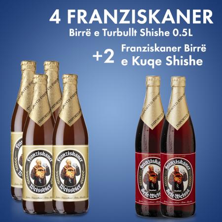 4 Franziskaner Birre e Turbullt Shishe 0.5L + 2 Cope  Franziskaner Birre E Kuqe Shishe 0.5L Falas
