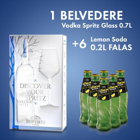 1  Belvedere Vodka Spritz Glass 0.7L + 6  Lemon Soda Shishe 0.2L Falas