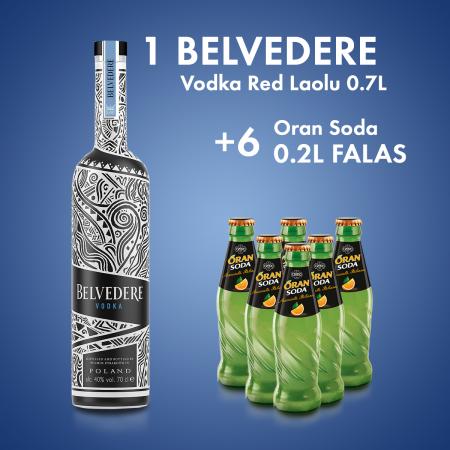 1Belvedere Vodka Red Laolu 0.7L  + 6 ORAN SODA SHISHE 0.2L Falas