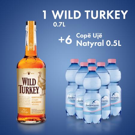 1 Wild Turkey 0.7L  + 6 Cope San Benedetto Uje Natyral Pet 0.5L
