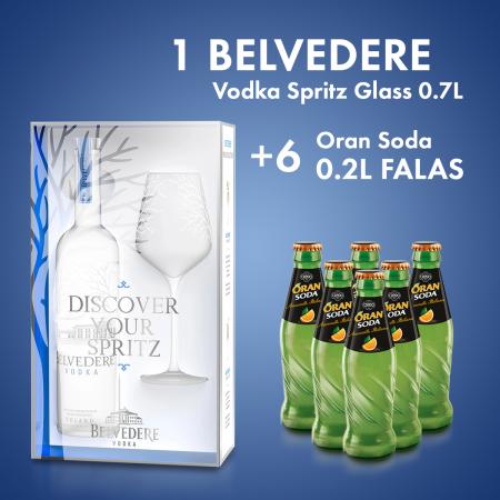 1 Belvedere Vodka Spritz Glass 0.7L  + 6 Cope Oran Soda Shishe 0.2L Falas
