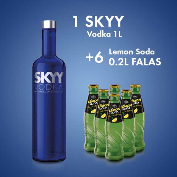 1  Skyy Vodka San Francisco 1L  + 6 LEMON SODA SHISHE 0.2L X24CP - 2 FALAS