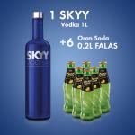 1 Skyy Vodka San Francisco 1L  + 6  ORAN SODA SHISHE 0.2L