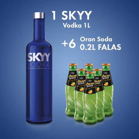 1 Skyy Vodka San Francisco 1L  + 6  ORAN SODA SHISHE 0.2L