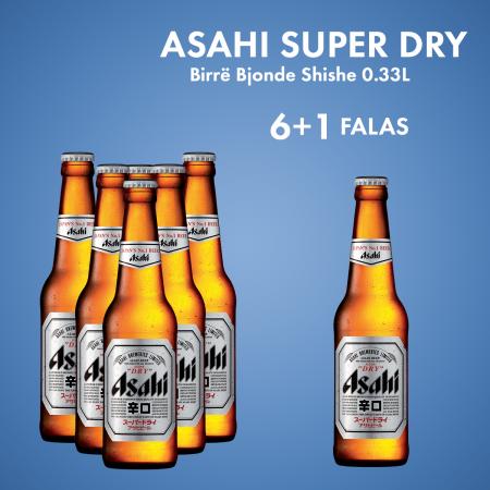 6 Asahi Super Dry Birre Bjonde Shishe 0.33L  + 1  Asahi Super Dry Birre Bjonde Shishe 0.5L