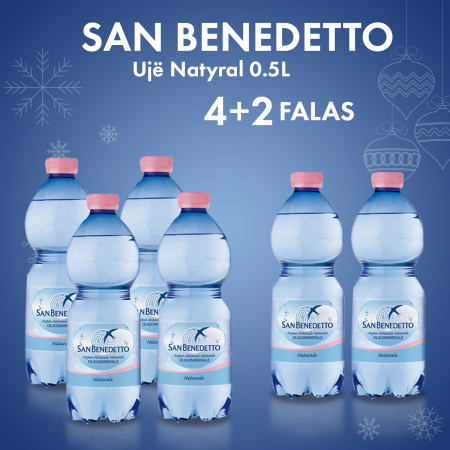4 Uje San Benedetto Uje Natyral Pet 0.5L +2 Falas
