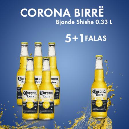 5 Corona Birre Bjonde Shishe 0.355L  + 1 Falas
