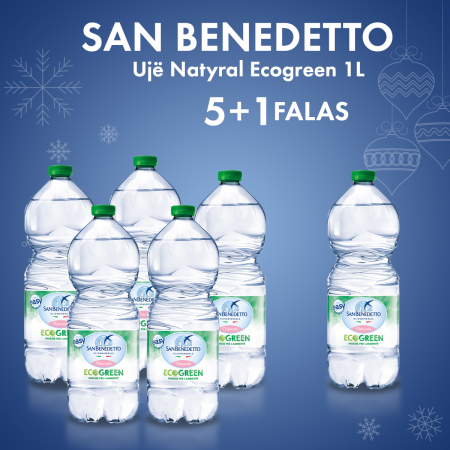 5 San Benedetto Uje Natyral Ecogreen Pet 1L + 1  Falas