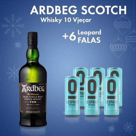 1 Ardbeg Scotch Whisky 10 Vjecar 0.7l  Box+ 6 Leopard  Kanace 0.25L Falas