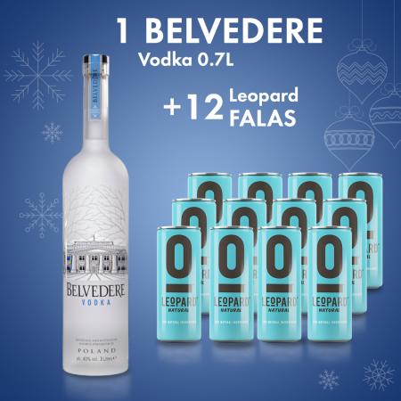 Belvedere Vodka 1.75L + 12 Cope Leopard 0.25 L Falas