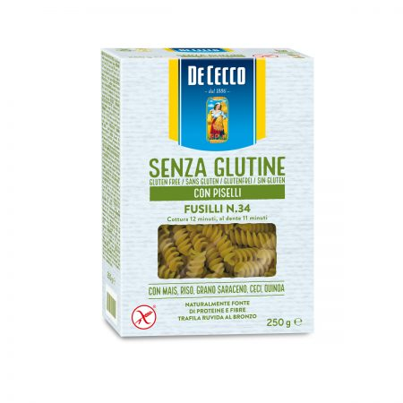 De Cecco Pasta Fusili me Bizele Nr. 34 pa Gluten Paketim 250Gr