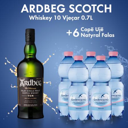 Ardbeg Scotch Whisky 10 Vjecar 0.7L  + 6 San Benedetto Uje Natyral Pet 0.5L FALAS