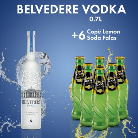 Belvedere Vodka 0.7L + 6  Lemon Soda Shishe 0.2L  Falas