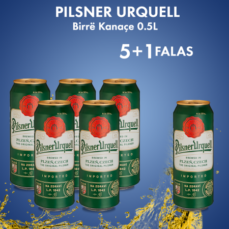 5 Pilsner Urquell Birre Kanace 0.5L 4.4%  + 1 Falas