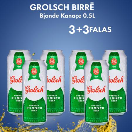 3 Grolsch Birre Bjonde Kanace 0.5L 5% + 3 FALAS