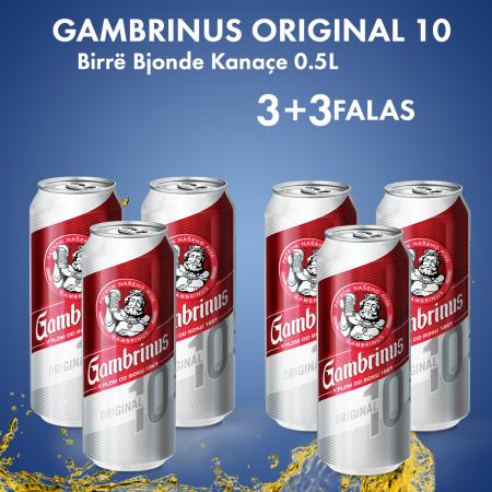 3  Gambrinus Birre Bjonde Kanace 0.5L  + 3  Falas