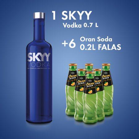1  Skyy Vodka 0.7L  + 6 ORAN SODA SHISHE 0.2L FALAS