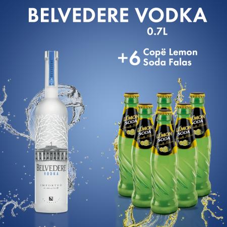 1 Belvedere Vodka 0.7L  + 6 Lemon Soda Shishe 0.2L Falas