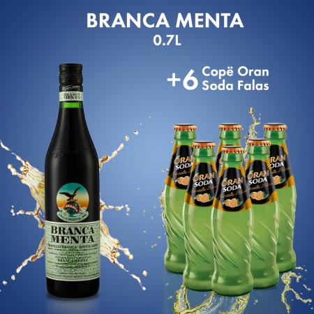 Branca Menta 0.7L + 6 COPE ORAN SODA SHISHE 0.2L FALAS