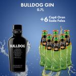 1 Bulldog Gin 40% 0.7L + 6  ORAN SODA  0.2L