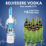 1 Belvedere Vodka Pure Janelle 0.7L 40% + 6 Cope ORAN SODA SHISHE  Falas