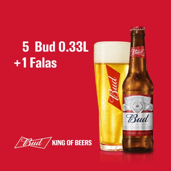 5 Bud 0.33L 5%  + 1  Falas