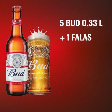 5 Bud Shishe 0.33L 5%  + 1  Falas