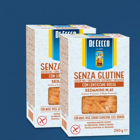 2 De Cecco Pasta Sedanini Me Thjerreza Te Kuqe Nr. 61 Pa Gluten 250gr