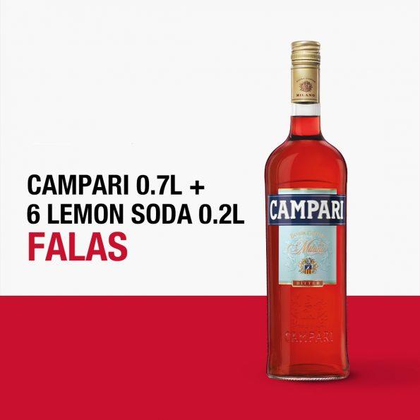 Campari 0.7L +6 LEMON SODA SHISHE 0.2L FALAS