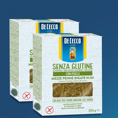 2 De Cecco Pasta Mezze Penne Rigate Me Bizele Nr. 141 Pa Gluten 250gr
