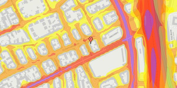 Trafikstøjkort på Aggersborggade 6, 4. tv, 2100 København Ø