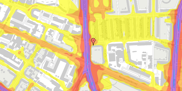 Trafikstøjkort på Bisiddervej 2, 2. mf, 2400 København NV