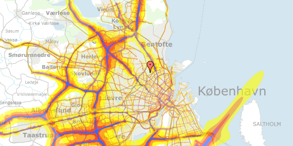 Trafikstøjkort på Bispebjerg Bakke 11, 3. 312, 2400 København NV