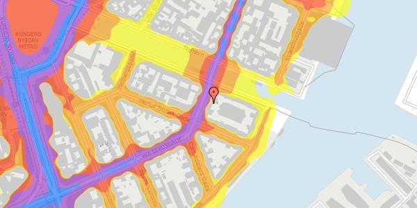 Trafikstøjkort på Holbergsgade 28, kl. 2, 1057 København K
