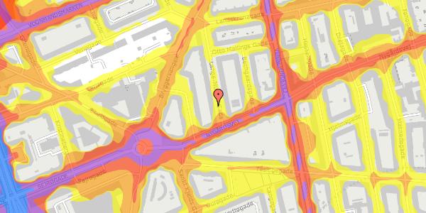 Trafikstøjkort på Lange-Müllers Gade 5, 2. tv, 2100 København Ø